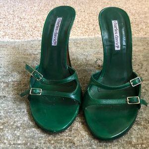 "Green leather Charles David sandals. 4"" heel sz 6"